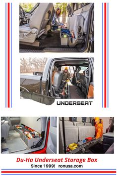 Easily get rid of all that clutter inside your truck with our custom seat storage box.