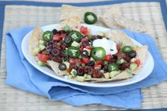 "Loaded Dinner Nachos (healthy with a ""neat"" vegetarian option)"