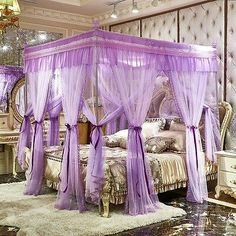 Luxury mosquito net & frame Bed netting Bed curtain Bed canopy for princess bed Wedding Bed, Wedding Frames, Bedroom Sets, Bedroom Decor, Mosquito Net Canopy, Bed Net, Bedroom False Ceiling Design, Purple Bedding, Bed Curtains