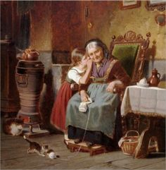 Hermann ~ Werner ~ German Painter Whispering_to_Grandma Classic Paintings, Paintings I Love, Beautiful Paintings, Tricot D'art, Knit Art, Victorian Art, Norman Rockwell, Ancient Art, Vintage Art