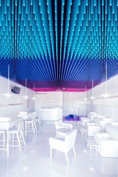 Colorful sticks hang from the ceiling of this nail salon  http://www.justleds.co.za  http://www.justleds.co.za  http://www.justleds.co.za  http://www.justleds.co.za