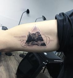 Triangular landscape tattoo by Eva Krbdk Time Tattoos, Body Art Tattoos, New Tattoos, Cool Tattoos, Tatoos, Tattoos Mandala, Triangle Tattoos, Tattoo Bein, Arm Tattoo