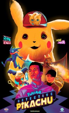 [OC] This is an illustrative alternative poster for the movie Pokemon- Detective Pikachu for a creative collaboration with Talenthouse for the movie to design an alternative key art. Made by Rahul Jha (The Commas) Ryan Reynolds, Pokemon Movies, Pokemon Go, Film Pokemon, Boxing Day, Kathryn Newton, Jurassic World, Detective, Mystery Film