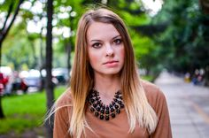 ombre hair, blonde, statement necklace