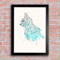 Poster Geometric Cat - Encadreé Posters