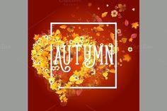 Autumn Frame in Shape of Heart. Illustrations. $4.00