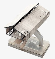 Concrete model, pitched roof