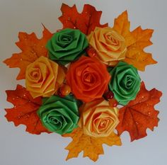 20% off entire purchase from Black Friday till Cyber Monday (Nov. 29th to Dec. 2nd)!  Fall Into Autumn Cutie Pot Ribbon Flower by JAYLIdesigns on Etsy, $22.00
