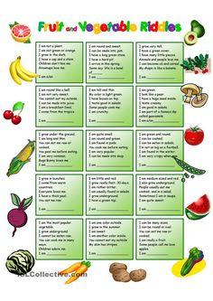 Fruit and Vegetables Riddles with KEY
