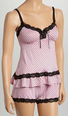 Pink Lace Cami & Short Pajama Set