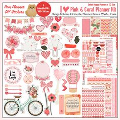 MEGA Valentine Kit over 300 stickers Printable Planner Kit in Pink & Coral February #Pomplanner #Valentine, Roses, Hearts, Flowers  5 PDF, Happy Planner, EC, Bible Verses, Cups, Latte,  Icons
