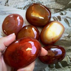 Mega Carnelian Palm Stones  For Stamina Courage by TheSageGoddess