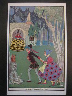 Hansel and Gretel - An Art Deco Postcard Illustrated by Joyce Mercer (1927)