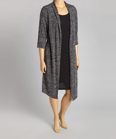 Another great find on #zulily! Charcoal & Black Layered Dress - Plus by En Focus Studio #zulilyfinds