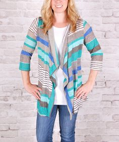 Another great find on #zulily! Mint & Gray Stripe Open Cardigan #zulilyfinds