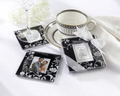 """Timeless Traditions"" Black & White Coasters. Great Wedding Favors for the Black & White Event.  ceceliasbestwishes.com"