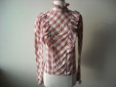 Vintage Plaid Ruffle Blouse by Baxtervintage on Etsy, $27.00