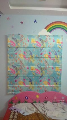 Colourful Roman Blinds for Kids Room complimenting the wall paper