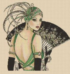 Cross stitch chart Art Deco Lady 11a - NEW | eBay