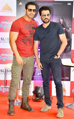 John Abraham and Anil Kapoor at a promotional event for 'Welcome Back'. #Bollywood #WelcomeBack #Fashion #Style #Handsome