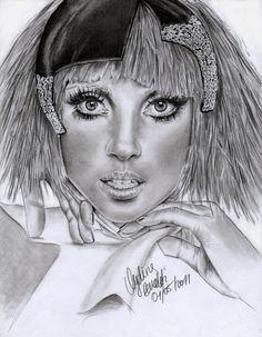 Lady Gaga 2 by AngelinaBenedetti on deviantART ~ pencil portrait