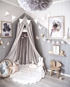 Love this beautiful kid's room! Linen canopy, Miffy lamp and Vita Eos lamp - Project Nursery - meadoria Baby Room Decor, Nursery Room, Girl Nursery, Bedroom Decor, Boy Girl Bedroom, Pink And Gray Nursery, Canopy Bedroom, Room Baby, Decorating Rooms