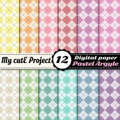 Digital Paper Argyle diamond PASTEL  Scrapbooking by Mycuteproject