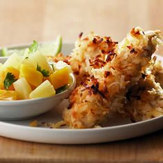 Recipe for Coconut Chicken with Pineapple-Mango Salsa