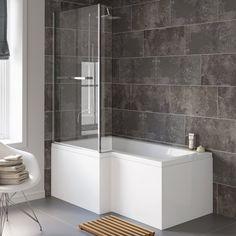 Left Hand L-Shaped Bath - Screen, Rail & Front Panel (Excludes End Panel) Bathroom Layout, Bathroom Sets, Small Bathroom, Bathroom Colors, Bathroom Faucets, Modern Bathroom, Master Bathroom, Shower Over Bath, Glass Shower