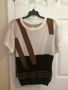 Womens Sweater Shirt short sleeve Top Size M by Petite Workshop #PetiteWorkshop #Sweater