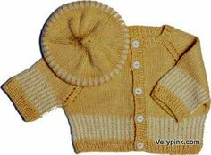 Striped cardigan and matching beanie or beret. Pattern and video tutorial.