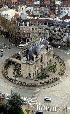 Porte de Paris taken from the Belfry Tower, Lille, France