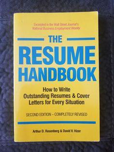 The Resume Handbook Second Edition Paperback Book 1990 Arthur D. Rosenberg Wall Street Journal, Paperback Books, Thrift, Resume, Letters, Writing, Store, Cover, Ebay