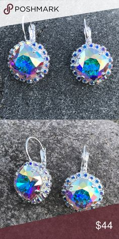 💜 Handcrafted earrings with Swarovski crystal This listing is for an exquisite pair of Aurora Borealis earrings in a silver leverback cushion setting surrounded by tiny Aurora borealis crystals. Feel like a princess in these. Hubby & I make jewelry using genuine Swarovski crystals. Nickel free. All items are much prettier in person. Proceeds used to help our 5-yr-old granddaughter Lila May in her fight against cancer, but she lost her battle. Now she is dancing with angels.  A % of profit…