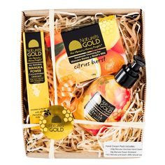Finally, everything you need for soft and smooth hands in one beautiful gift pack.  Includes:  150g pump bottle of Manuka Intensive Hand Cream 20g tube of Manuka Power Concentrated Ointment FREE 130g Manuka Honey and Goat's Milk Citrus Burst Soap