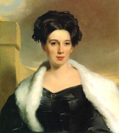 Portrait of Mary Ann Heide Norris (1830).Thomas Sully (American, 1783–1872). Oil on canvas.Philadelphia Museum of Art. Mrs. Norris' idealized likeness demonstrates Sully's interest in varying textures, as seen in the contrasts among her satin dress, fur stole, and porcelain skin. Set in a landscape with a dramatic sky, Mrs. Norris is sheltered by a high wall that harmoniously echoes the curvature of her figure and clothing.