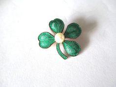 Enamel 4 Leaf Clover Shamrock Pin Brooch Faux Pearl by vgvintage