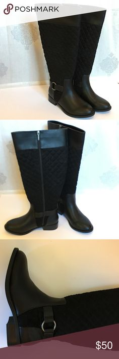 """Wide Calf Boots Classic knee high boots in faux leather with quilted faux suede upper and buckle at ankle. 19.5"""" calf circumference, shaft is 17.5"""" tall, 1"""" heel. Perfect condition, reposh. Only worn indoors to try on. Tag on, no box. Offers welcome using the offer button. No trades. torrid Shoes Over the Knee Boots"""