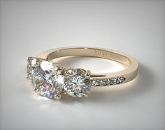 17135Y14 | Three Stone Round and Pave Set Diamond Engagement Ring | 14K Yellow Gold - Mobile