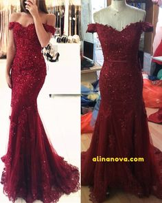 burgundy mermaid prom dress off the shoulder lace evening gown Burgundy Bridesmaid Dresses, Red Wedding Dresses, Prom Dresses Blue, Prom Party Dresses, Off Shoulder Evening Gown, Lace Evening Gowns, Mermaid Prom Dresses Lace, Lace Mermaid, Mermaid Style