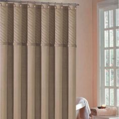 DR International Annecy Pin Tuck Shower Curtain in Mocha - ANSMO 12 8671