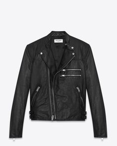 Saint Laurent Paris Motorcycle Racer Jacket in Black Leather