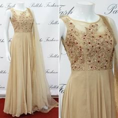 Beige outfit in satin silk with heavy thread-work on top. Get yours now at www.palkhifashion.com