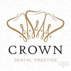 Logo sold Modern, unique and distinctive design of a royal crown that's designed to also look like stylized overlapping a looping connecting teeth.