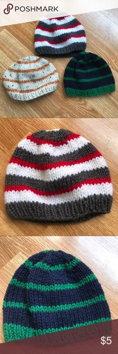 Beanie bundle Hand knit. Blue is approx 15in circumference. Red and orange are approx 20in circumference. They fit my son when he has 12- 24 months. Accessories Hats
