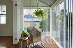 55 Front Verandah Ideas and Improvement Designs — RenoGuide - Australian Renovation Ideas and Inspiration Porch Furniture, Iron Furniture, Climbers For Shade, Front Verandah, Front Deck, Louvered Shutters, Screen Plants, Back Porches, Pergola