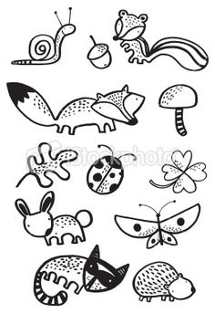 woodlands creature black and white Royalty Free Stock Vector Art Illustration