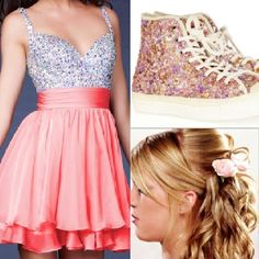 Another adorable prom outfit !!! a pink/orange sparkly dress ! With sparkling high top converses.  With hair curled with flowers in it !