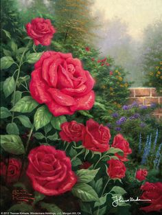 """""""A Perfect Red Rose"""" Such a beautiful painting that I loved and had to buy on a cruise a couple years ago. Amazing artwork that will truly be missed.  R.I.P Thomas Kinkade"""