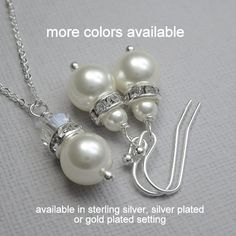 CUSTOM COLOR Bridesmaids Gift Swarovski White Pearl Necklace and Earring Set, Will You Be My Bridesmaid Bridal Party Jewelry Bridesmaid Gift